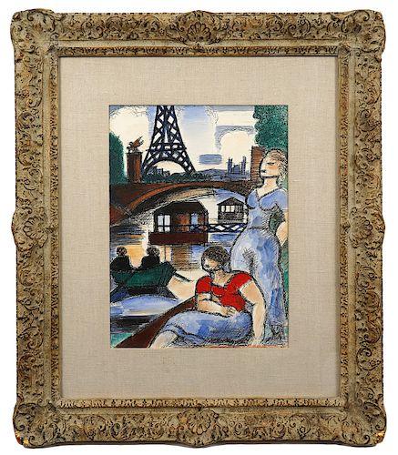 Marcel Gromaire 'Eiffel Tower' Watercolor