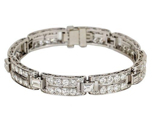 Platinum and 14K Gold Diamond Bracelet