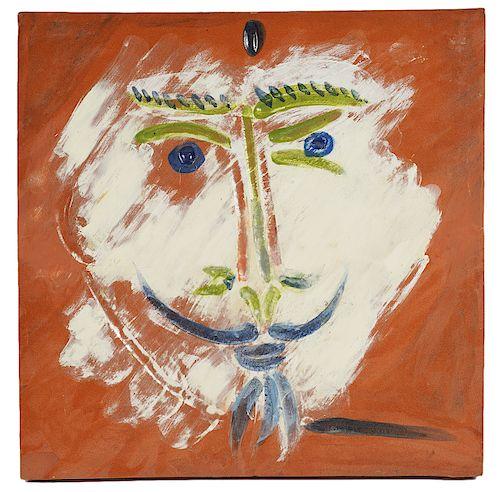 Large Picasso Madoura Tile 'Visage a la Barbiche'
