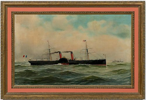 Antonio Jacobsen Paddlewheel Steamer Oil on Canvas