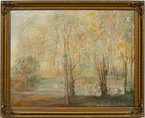"Wolf Kahn Signed Oil, ""View on Forest Pond"""