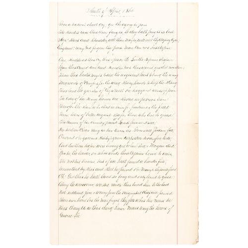 Original Handwritten Poem, Ninth of April 1865, by Percy Greg, End of Civil War!