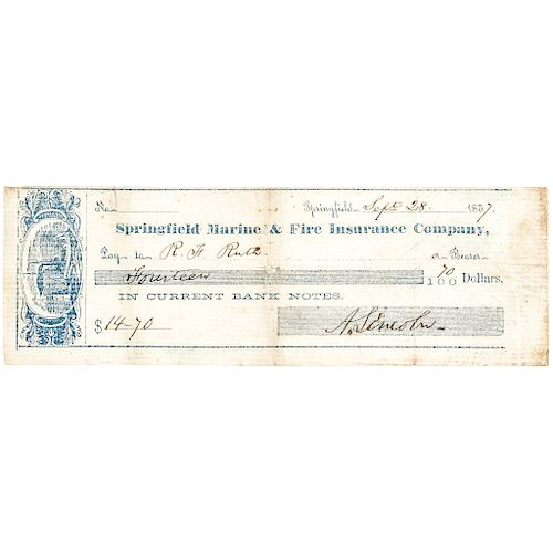 1857 Rare ABRAHAM LINCOLN Signed Personal Check Payable In Current Bank Notes!
