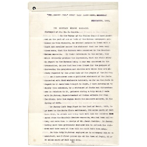 1857 MORMONS, Mountain Meadows Massacre Firsthand Interview Important  Documents