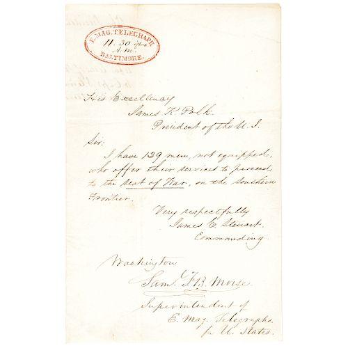 1846 Samuel F. B. Morse Signed Document for US Electro-Magnetic Telegraphs