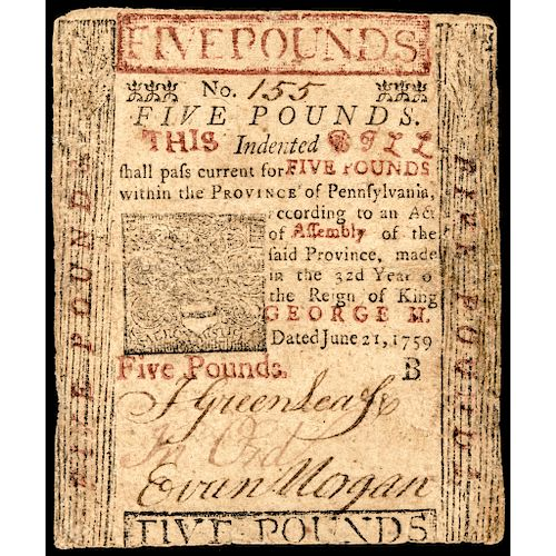BENJAMIN FRANKLIN PRINTED Colonial Currency, PA. June 21, 1759 PCGS VF-20 RARITY