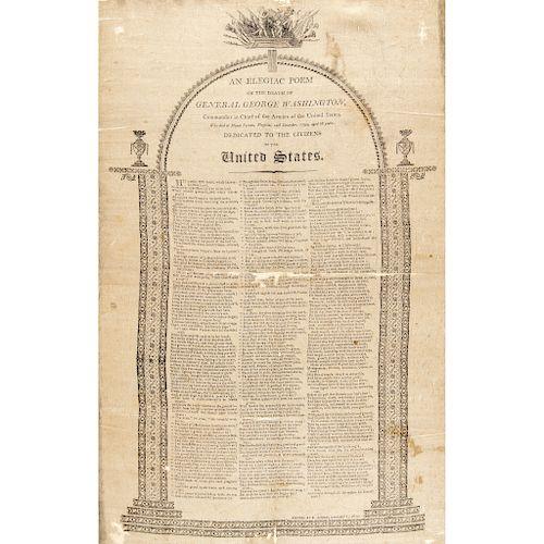 1800 Silk Broadside: An Elegiac Poem on the Death of General George Washington