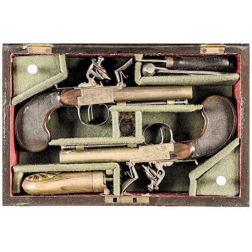 c. 1790-1800 PAIR of Russian Double Barrel Side-by-Side Flintlock Pistols + Case