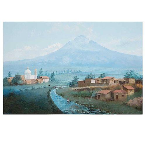 Efrén Cisneros García. Vista del Popocatépetl. Óleo sobre tela. Firmado y fechado 88. Enmarcado. 100 x 150 cm