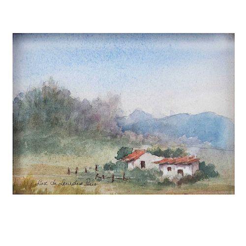 Luz de Lourdes Pino. Vista de paisaje con casas. Acuarela sobre tela. Firmada. Enmarcada. 14 x 19 cm