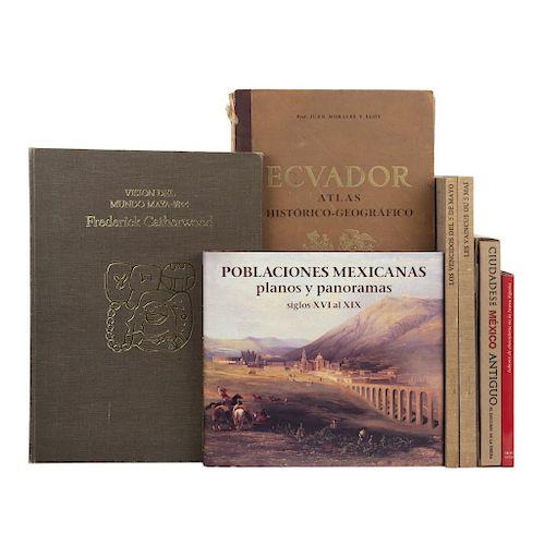 LOTE DE LIBROS DE AMÉRICA ANTIGUA a) Poblaciones Mexicanas Planos y Panoramas Siglos XVI al XIX. Total de piezas: 7.