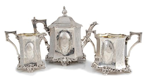Victorian sterling silver tea service - London 1845, Joseph Angell & Son (Joseph Angell Senior & Junior)