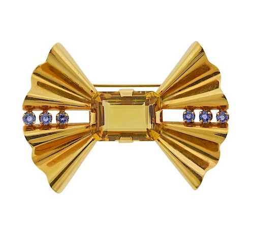 Tiffany & Co Retro 14k Gold Citrine Sapphire Bow Brooch