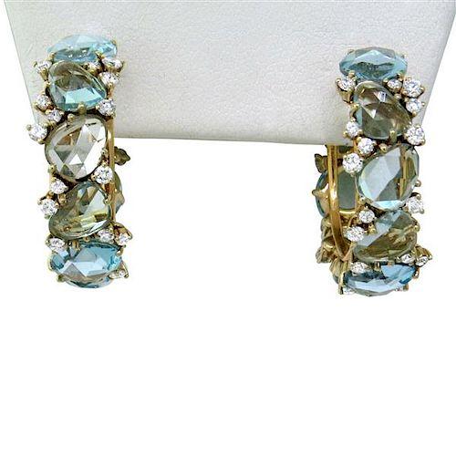 Pomellato Lulu 18k Gold Diamond Blue Topaz Hoop Earrings