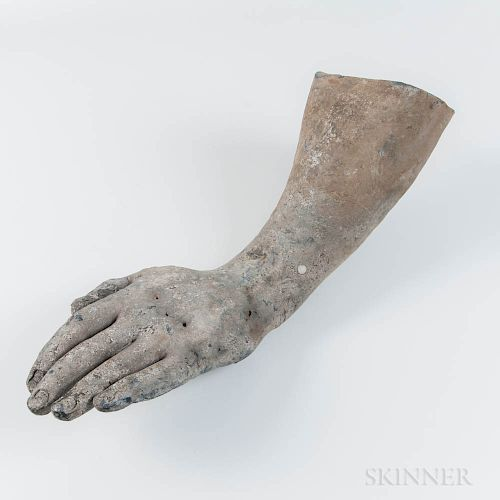 Lead Hand, Wrist, and Forearm Likely from the Statue of King George III at Bowling Green, New York City