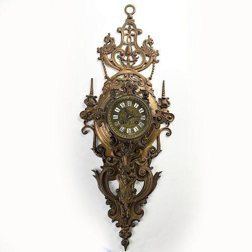 ART NOUVEAU BRONZE DRAGONS AND SATYR ALLEGORICAL CLOCK