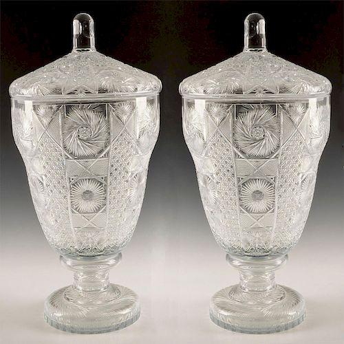 PAIR OF MONUMENTAL BOHEMIAN CUT CRYSTAL JAR WITH LID