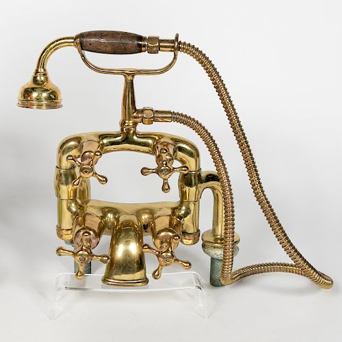 """Early 20th C. Brass """"Telephone"""" Bathtub Faucet"""