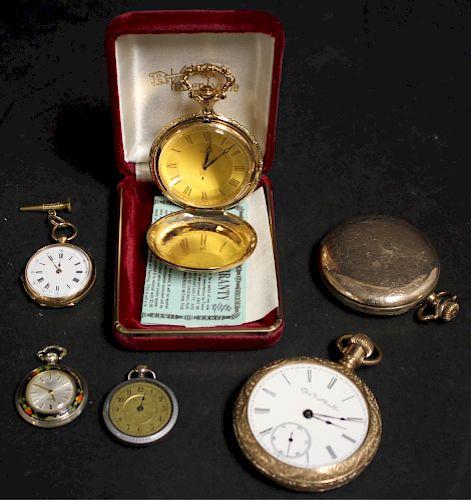 6 Pocket Watches, Elgin,Timex, Gant