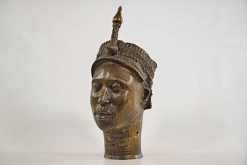 "Yoruba Bronze Ife Head 12.5"""