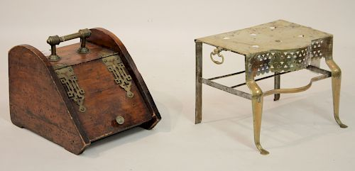 Antique Wood & Brass Coal Scuttle; Brass Footman