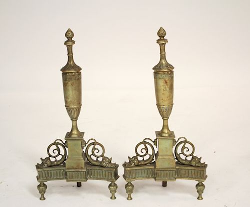 Pr French Gilt Bronze Urn Top Andirons w/