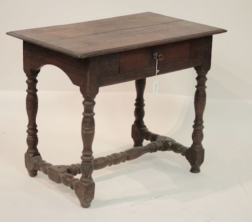 Continental Oak Side Table, 17th C