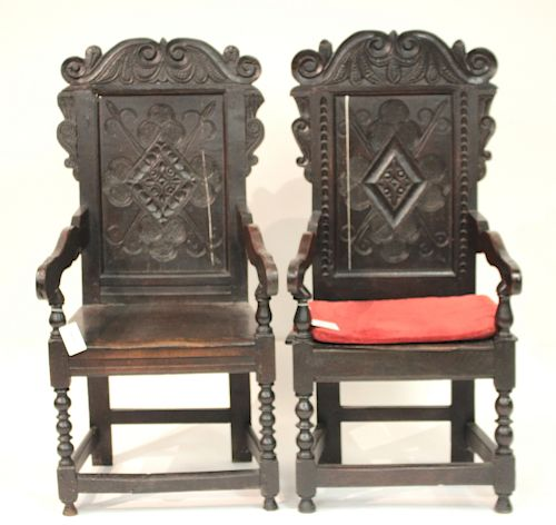 Matched Pair of English Oak Wainscott Armchairs