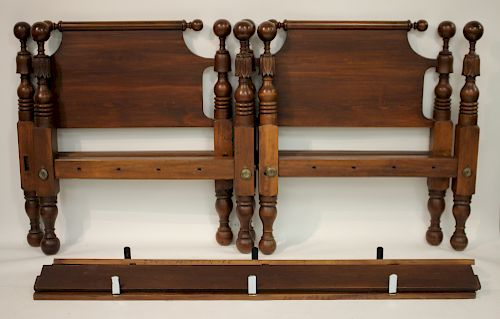 Pair of Cannonball and Carved Bell Twin Beds