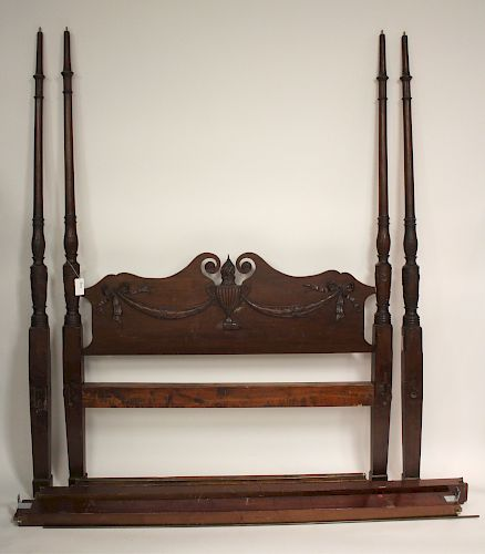 Antique American Mahogany 4 Poster Bed