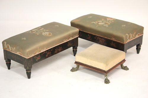 Pair of Low Benches and a Foot Stool
