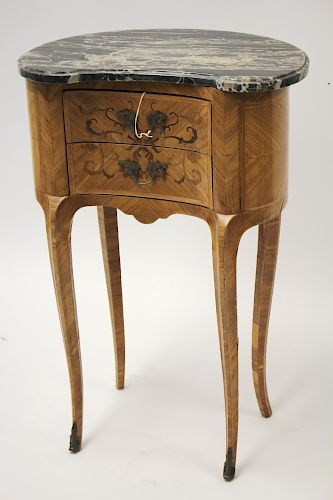 Louis XV Style Marquetry Tulipwood Bedside Table