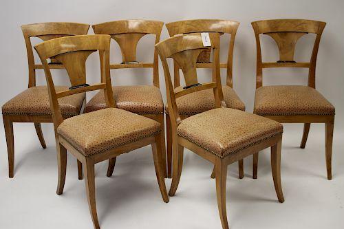 Set of 6 Neo-Biedermeier Faded Walnut Dining Chair