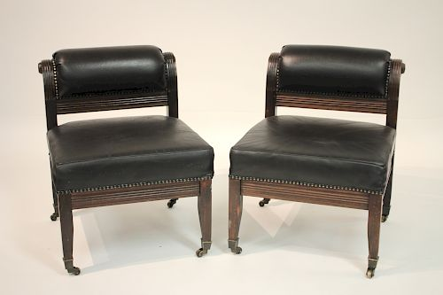 Pr. Carved Mahogany and Leather Fireside Chairs