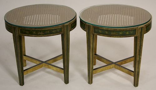 Neoclassical Style Oval Paint Decorated End Tables