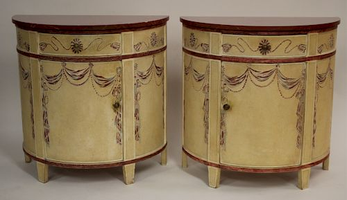Neoclassical Paint Decorated Demi-Lune Cabinets