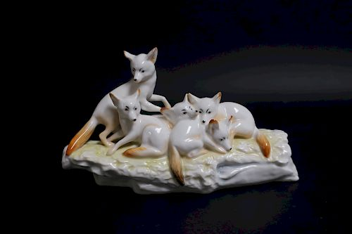 "Karl Ens German Porcelain ""Fox Family"""