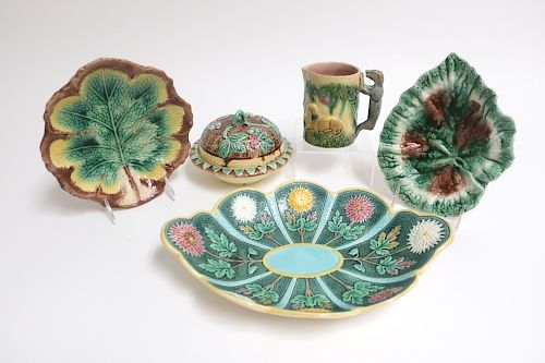 5 Majolica Pieces,Wedgwood & Griffin Smith & Hill