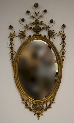 Neoclassical Style Oval Giltwood Mirror