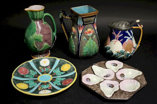 5 Pieces of English Majolica