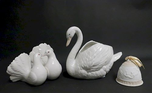 Lladro 1989 Bell and Doves, NAO Swan