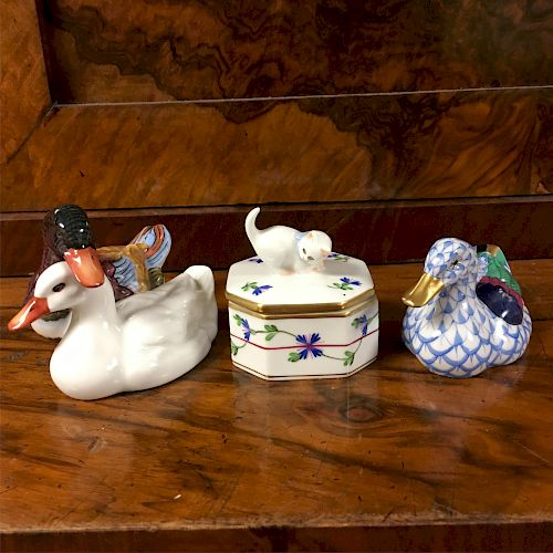 Herend Group: Ducks and Cat Lidded Box