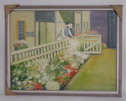 """Dimitri Hristoff """"Tending Flowers by the Gate"""" O/C"""