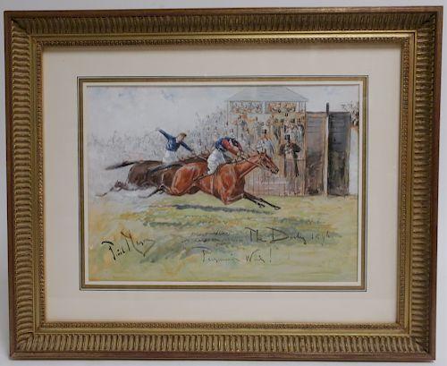 """George Finch Mason 1850-1915 """"The Derby"""" W/C"""
