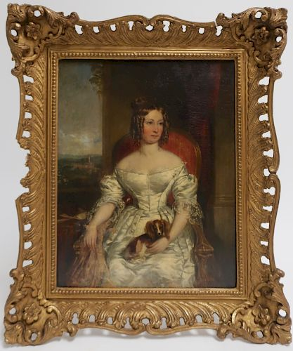 British School, Portriat of Lady w Dog, c 1840