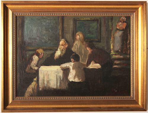 George Luks 1867-1933 Pawnbrokers Family O/B