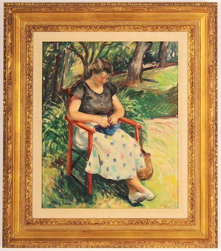J. Barry Green, Woman Knitting in Garden, c 1930