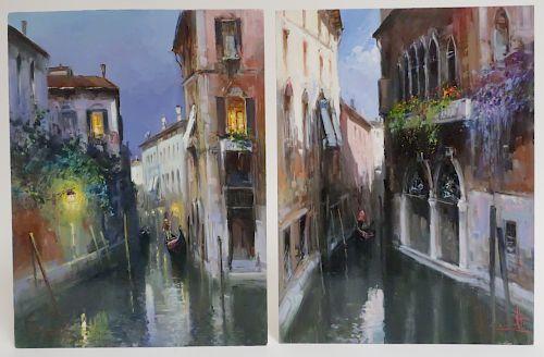 Claudio Simonetti, 20th C., 2 Venetian Canal