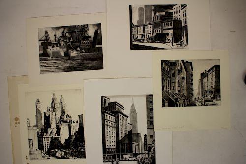 Lawrence N. Wilbur, Amer. 1897-1989, 5 NYC Scenes