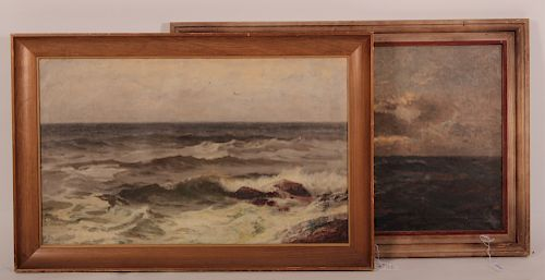 Two Large Seascapes, O/C's c. 1950, Unsigned